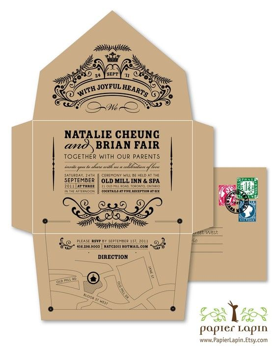 Self Mailing Kraft Wedding Invitation Open Me Softly Earth Friendly Seal And Send Quirky Whimscial Vintage Chic Deposit
