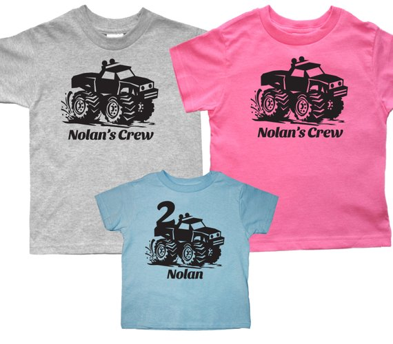 458f61b6ef38 Set of 3 Monster truck shirts - Matching birthday monster trucks t shirts -  pick your colors!