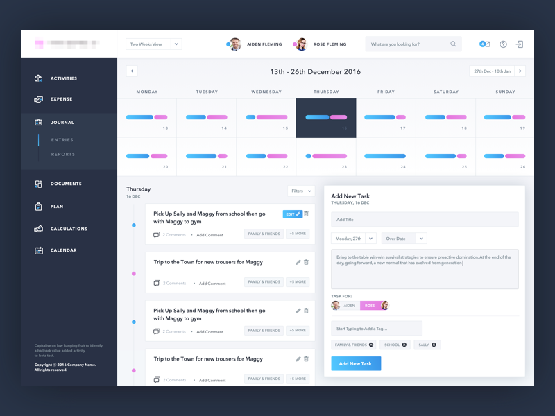 Journal Dashboard App Development Design Web Design Dribbble Design