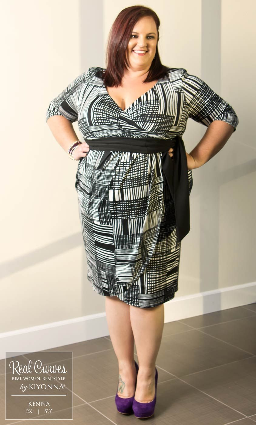 "2f96b95e8abd Real Curve Cutie Kenna (5'3"" and a size 2x) is pretty in print with our plus  size Harlow Faux Wrap Dress! www.kiyonna.com #KiyonnaPlusYou #MadeintheUSA  # ..."