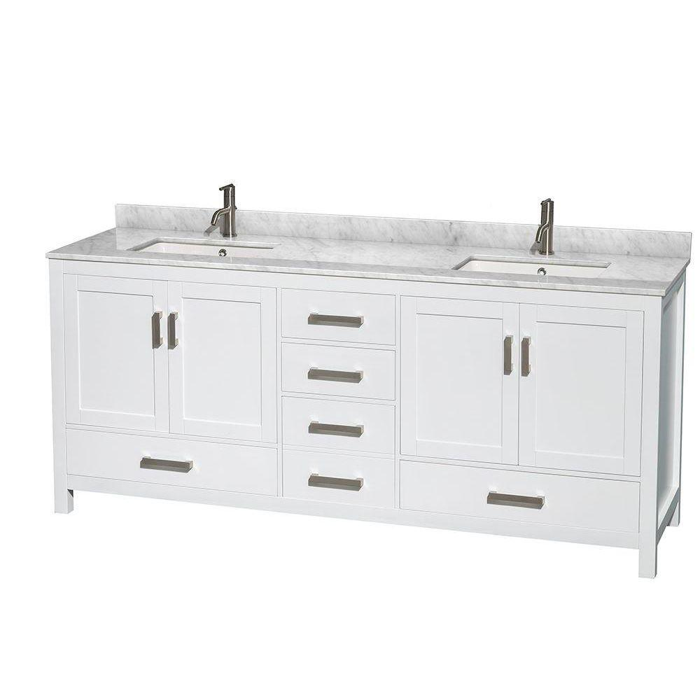 Wyndham Collection Sheffield 80 In Double Vanity In White With
