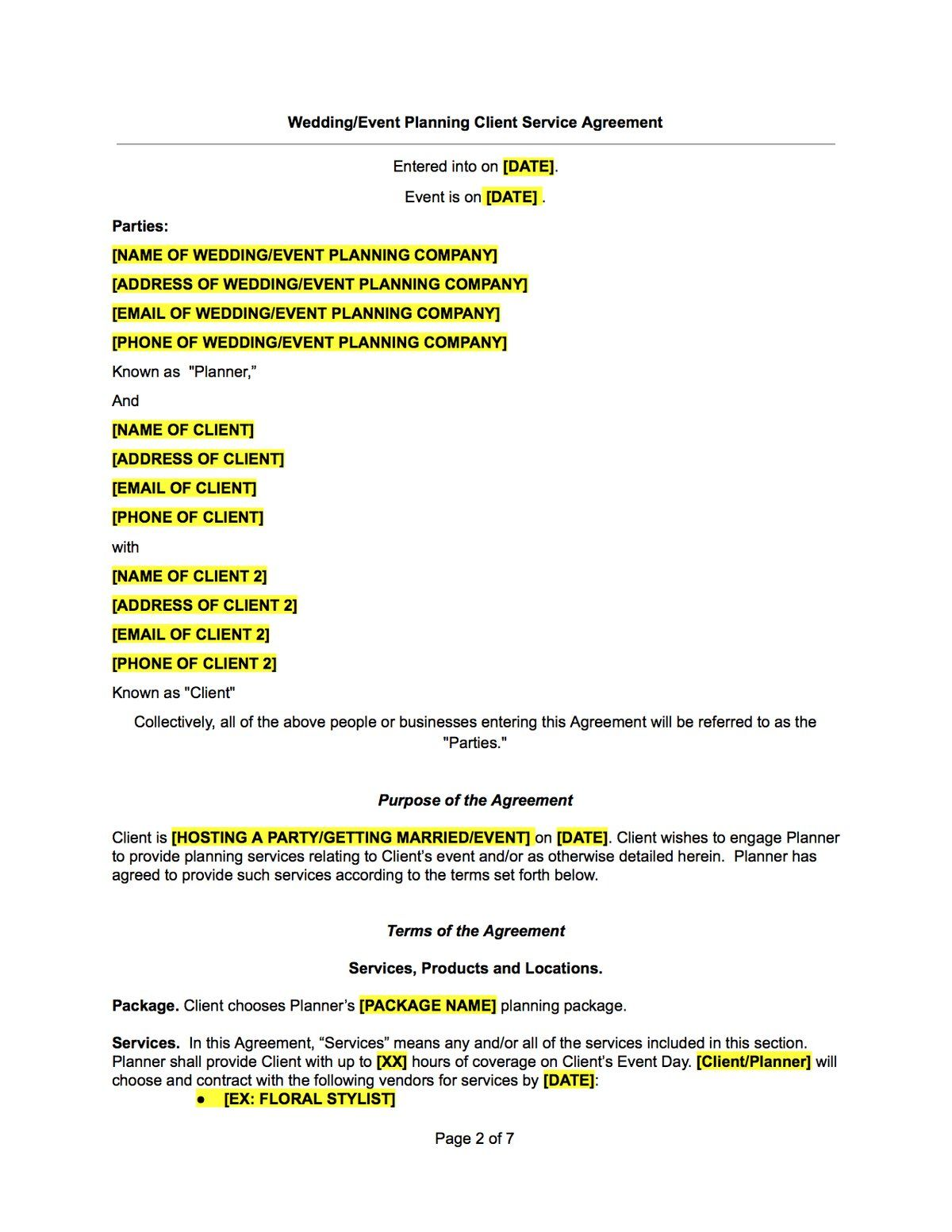 Wedding Or Event Planner Contract Template Wedding Event