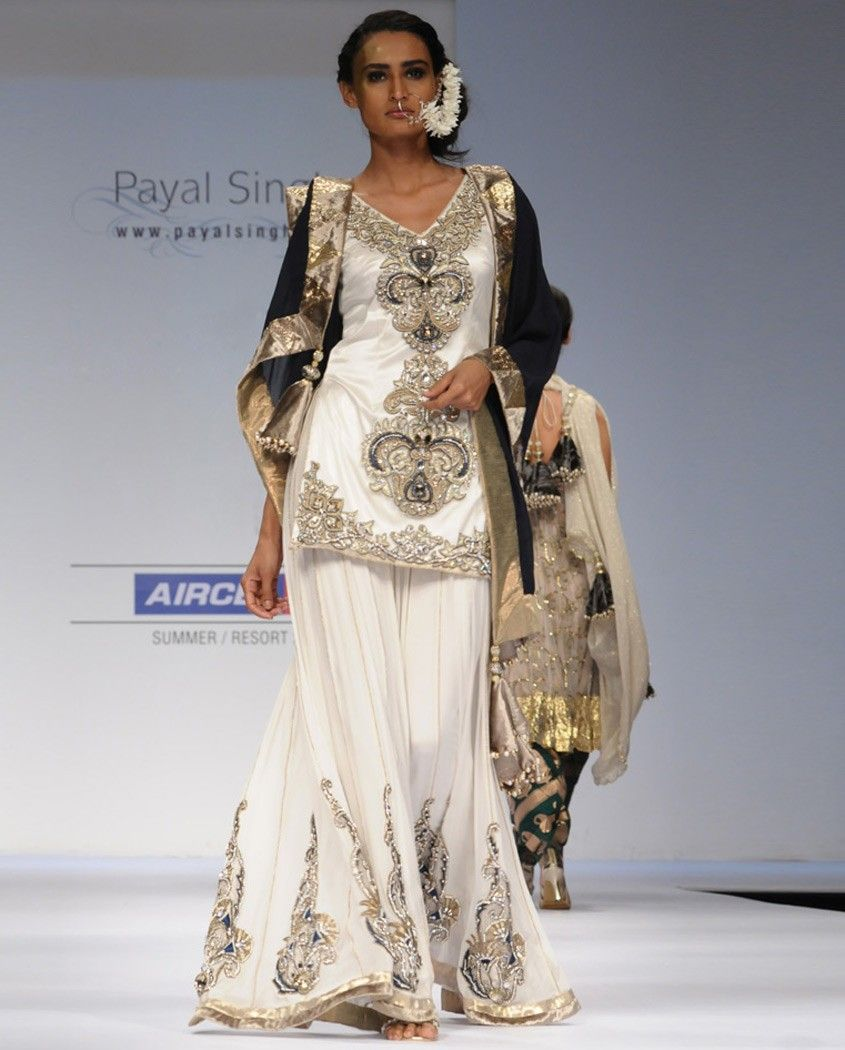 Off white embellished suit with sharara pants lehenga pinterest