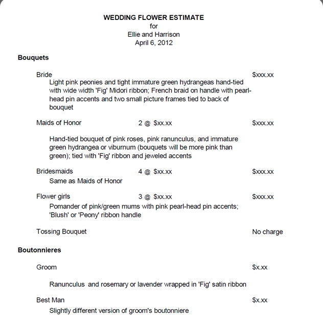 Wedding Flower Costs Estimator: I've Received Many Emails Asking How To Write A Proposal