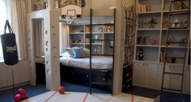 kinderzimmer f r zwei br der mit einem boxsack und basketballkorb kinderzimmer. Black Bedroom Furniture Sets. Home Design Ideas
