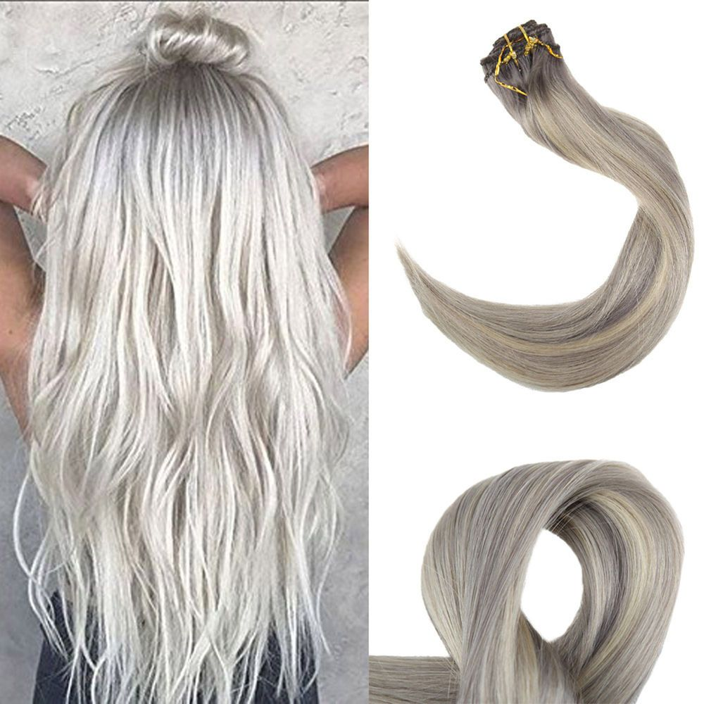 Details About Full Shine Clip In Human Hair Extensions Light Roots