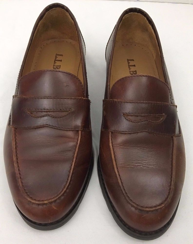 c375f9e425b LL Bean Penny Loafer Moccasin Shoes Dark Brown Leather Rubber Sole Size 8.5  Wide  LLBean  LoafersMoccasins  Casualcareer
