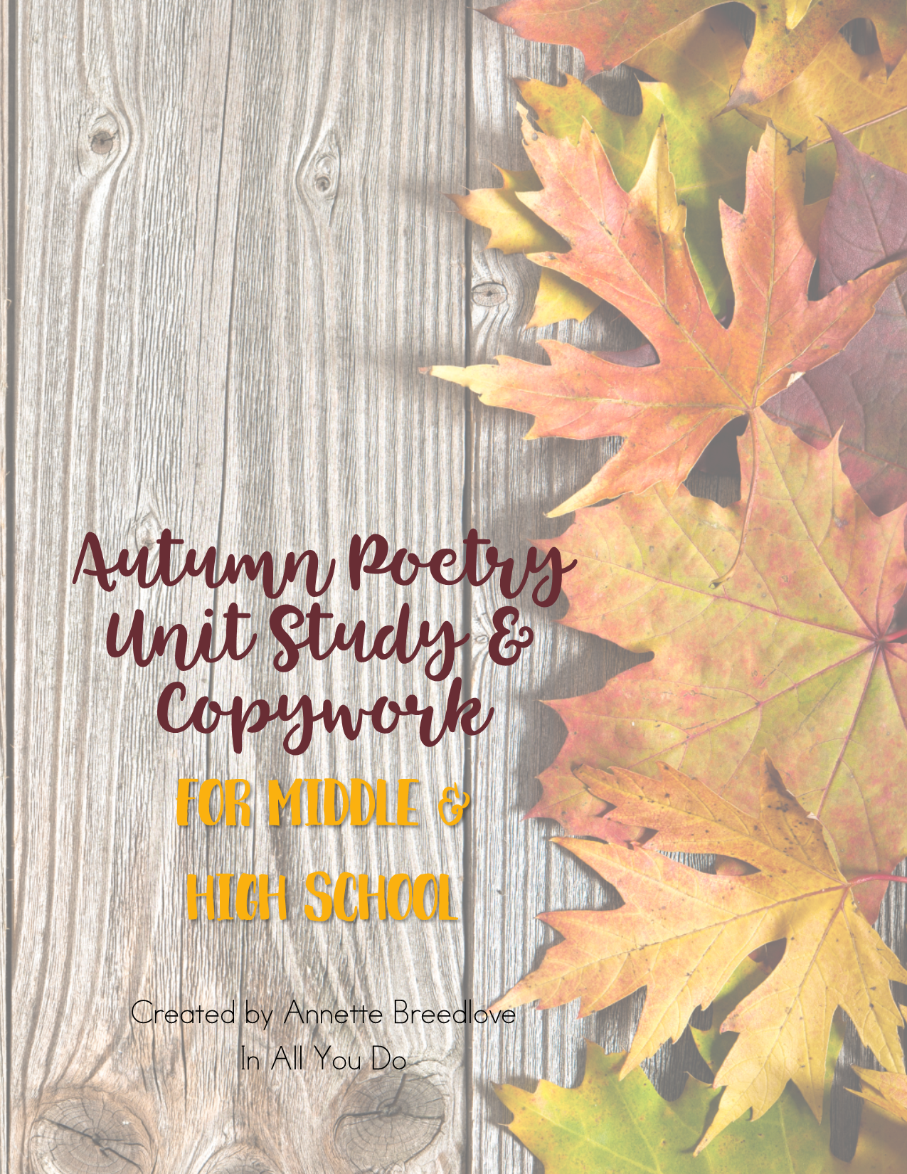 Autumn Poetry Copywork For Middle Amp High School
