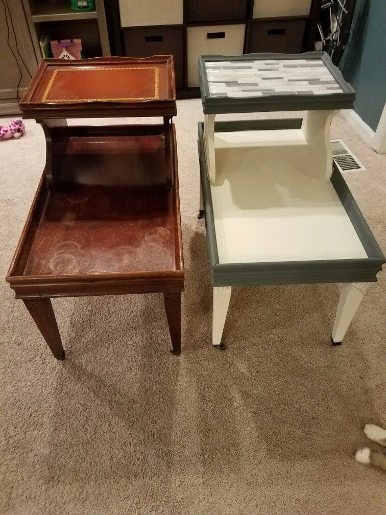 Before And After 2 Tiered Side Table Furniture Fix Side Table Makeover Vintage Side Table
