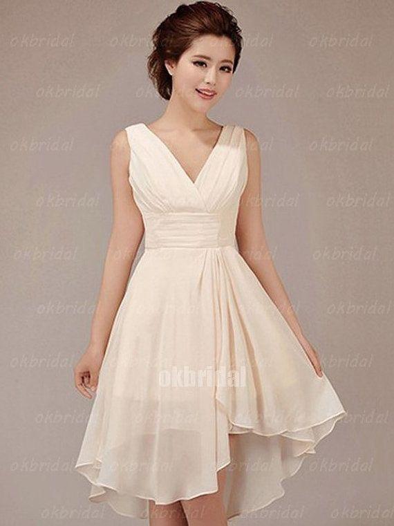 Knee Length Champagne Bridesmaid Dress