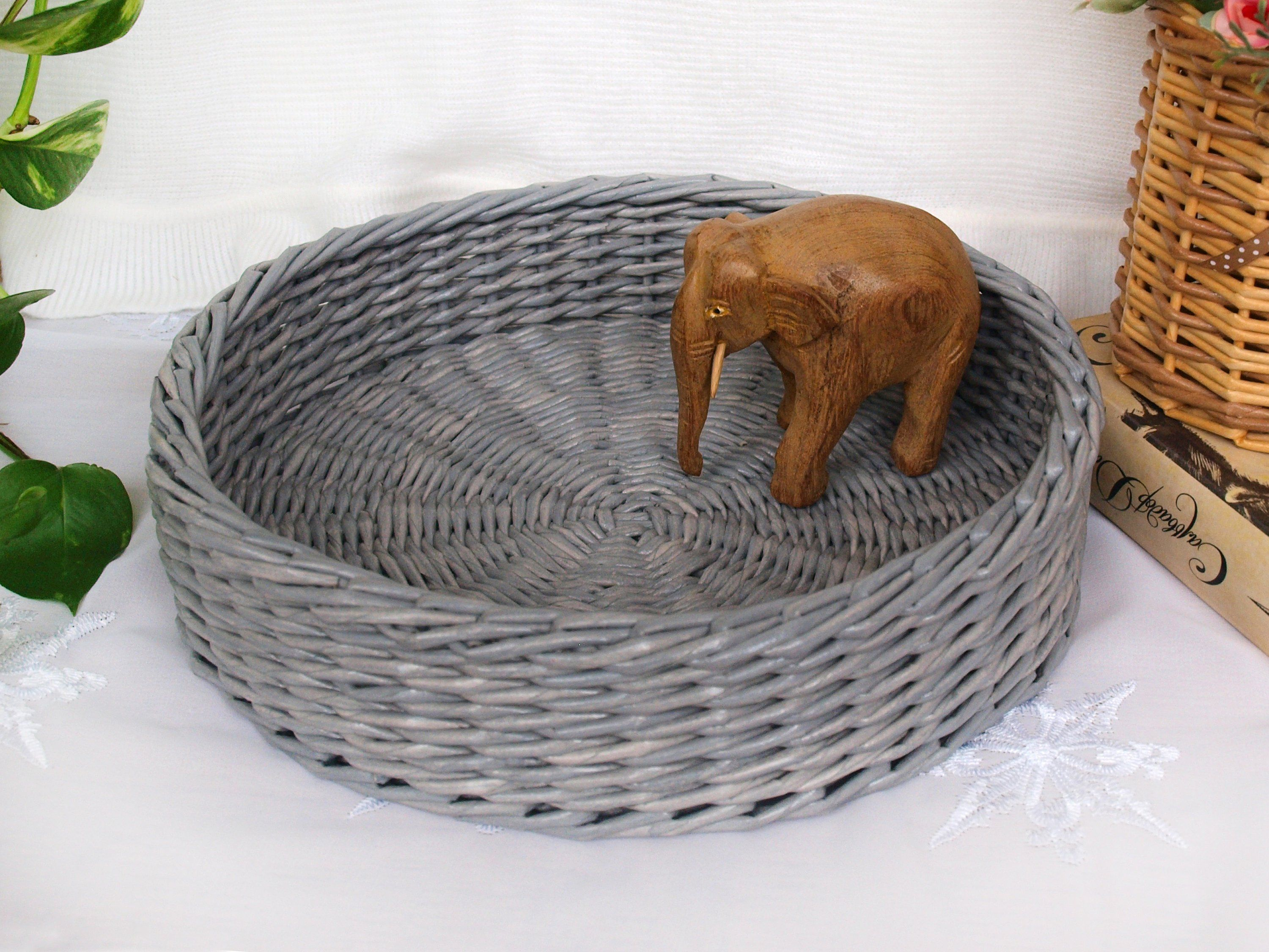 Gray round wicker basket tray serving tray coffee table