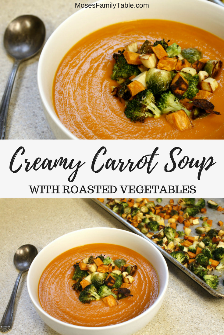 Creamy Carrot Soup with Roasted Vegetables