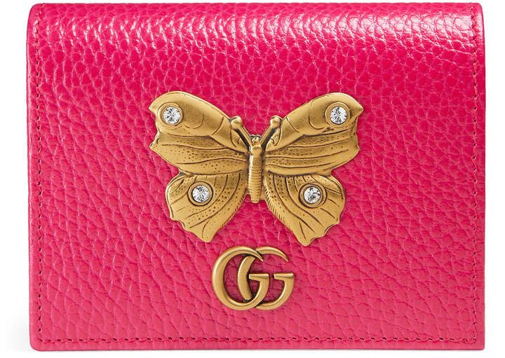 bbf9163c688 GUCCI Leather card case with butterfly