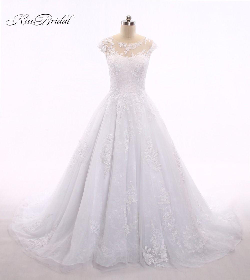 Vestido de noiva lace ball gown wedding dresses scoop neck