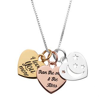 "Timeless Sterling Silver Tri-Tone ""I Love You More"" Triple Heart Pendant Necklace"