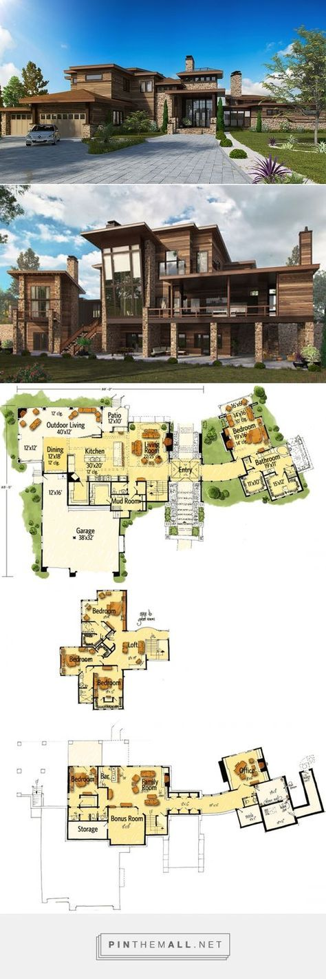 Plan 12945kn Dramatic Northwest Home With Contemporary Styling Sims House Plans House Plans House Blueprints