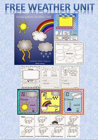 Free Kindergarten Weather Unit Preschool Weather Weather Unit