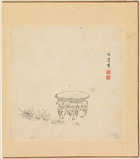 Chen Hongshou (Chinese, 1599–1652) Period: Ming dynasty (1368–1644) Date: one leaf dated 1619 Culture: China Medium: Album of twelve painti...