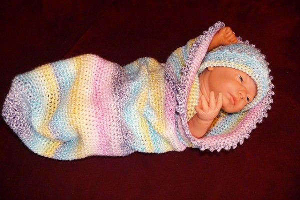 Cotton Candy Colored Baby Cocoon To Crochet Free Pattern