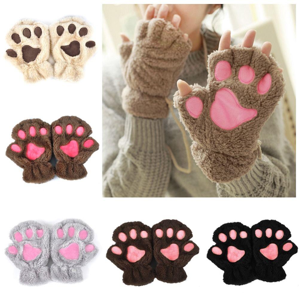 2015 Winter Women Cute Cat Paw Claw Plush Mittens Short Fingerless Finger Half Gloves China Mainland Paw Gloves Fingerless Paw Gloves Kitten Mittens
