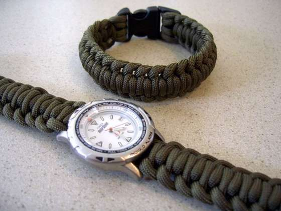 Paracord Watchband Bracelet With A Side Release Buckle With
