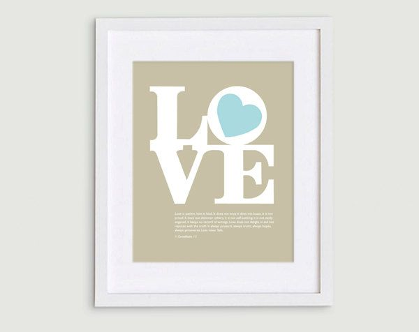 Tiffany Blue Typography Love Print with 1 Corinthians 13 Passage - 8x10 $15.00