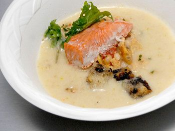 Roasted Garlic Sourdough Soup with Sockeye Salmon & Black Olive Croutons