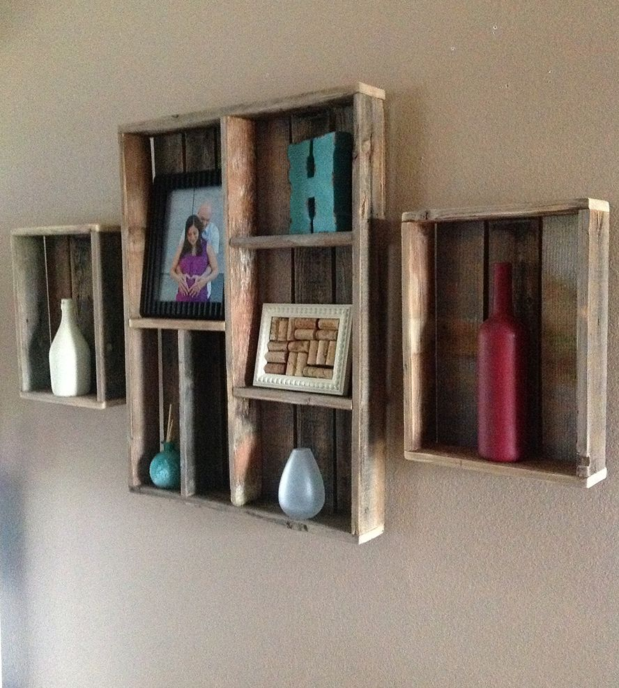 Wooden Wall Boxes : Reclaimed wood wall shelf and shadow box set of home