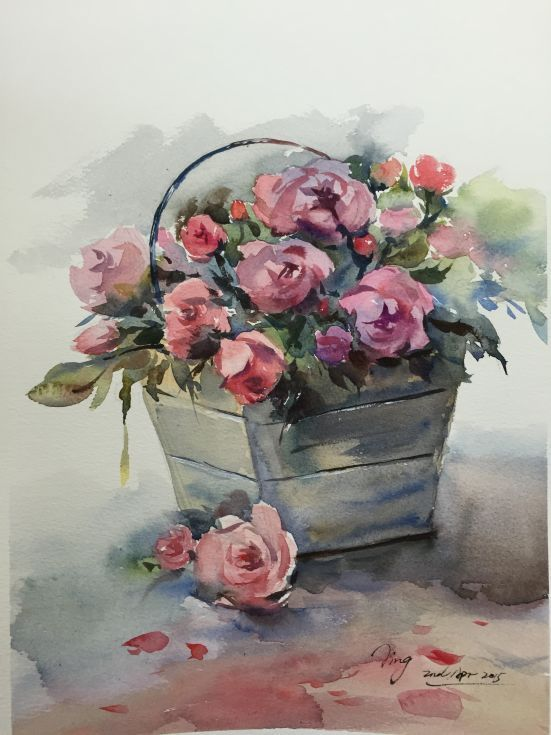 Basket Of Roses Flower Art Basket Drawing Watercolor Flowers