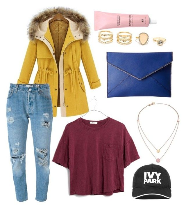"""""""mustard yellow coat"""" by abbyluellen on Polyvore featuring Michael Kors, Levi's, Madewell, Ivy Park, LULUS and Rebecca Minkoff"""