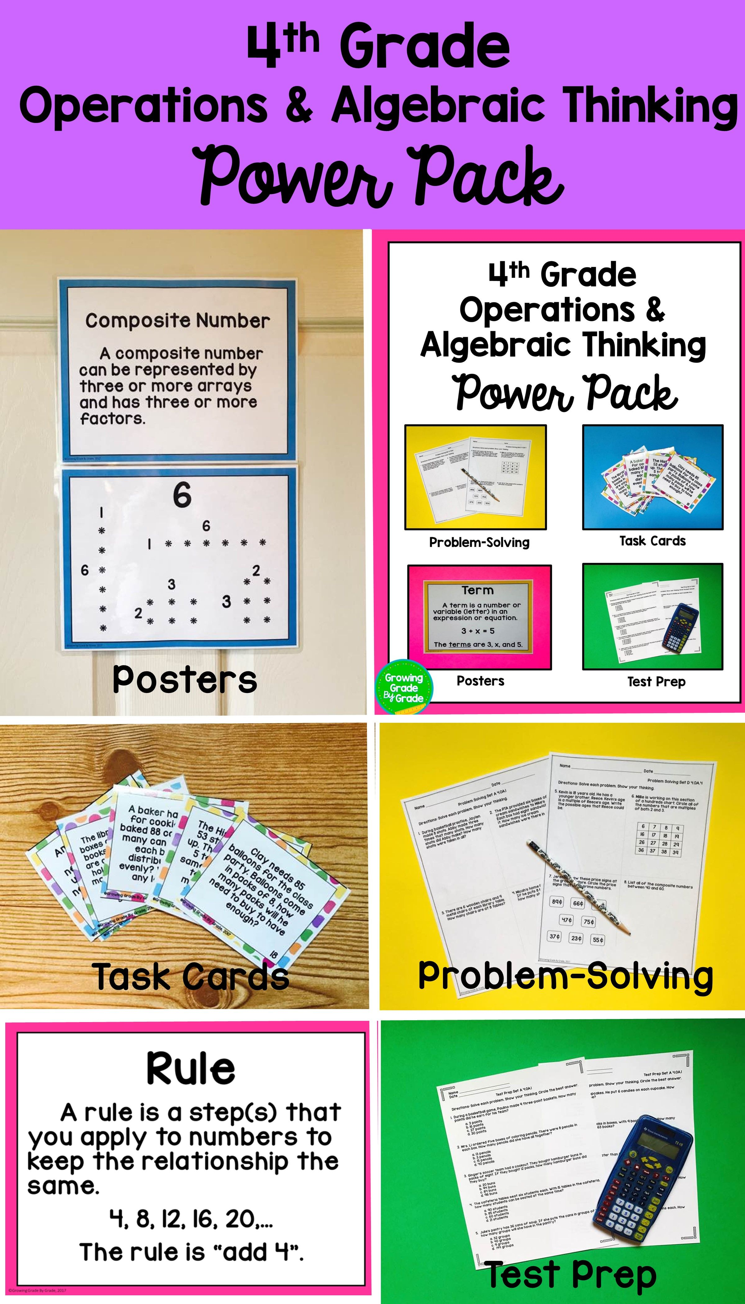 Feel Confident With Four Ways To Master 4 Oa Skills You Can Offer Students Task Card Experienc Algebraic Thinking 4th Grade Math Worksheets Math Spiral Review