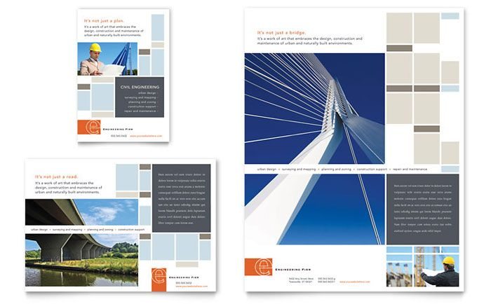 Civil Engineers Flyer and Ad Design Template by StockLayouts - interior design brochure template