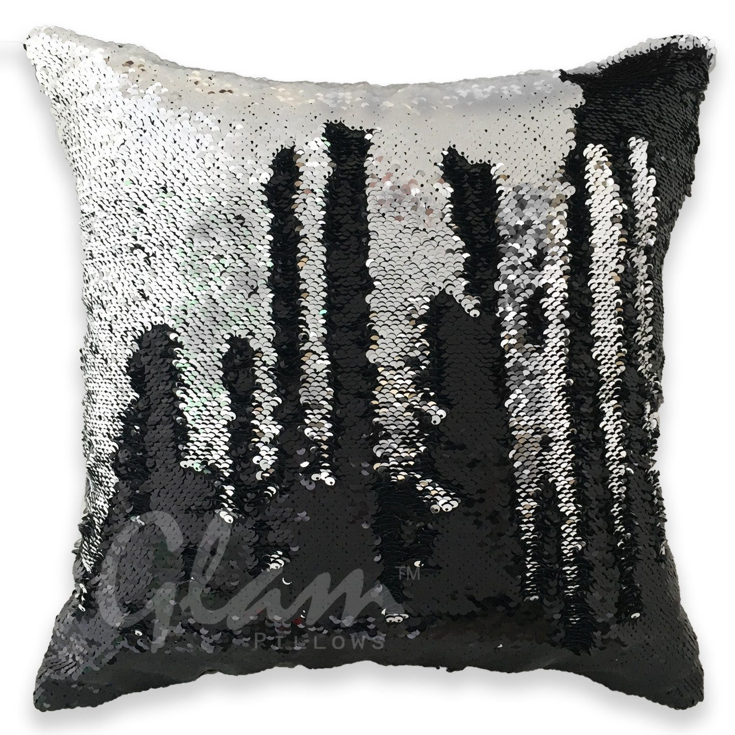 Black & Silver Reversible Sequin Glam Pillow is part of Silver Home Accents Guest Rooms - The Black & Silver Glam Pillow will instantly become the main attraction in any room  Sparkly yet sophisticated  Just like you  The lush reversible sequins can be brushed back and forth, allowing you to endlessly change and customize your pillow! Trust us, you won't be able to keep your hands off it   Includes Pillow Cover + Pillow Insert  Size 16x16   Color Black & Silver  Back Side Is SuperSoft Black Velvety Fabric With Zipper Closure