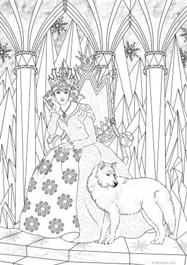 Snow Queen Printable Adult Coloring Page from Favoreads | Etsy
