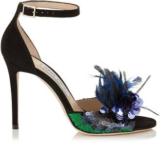 Jimmy Choo Annie 100 Sequin Feather High-Heel Sandal(Women's) -Black/Blue Mix Suede/Feather Embroidery Cheap With Paypal Buy Cheap Geniue Stockist Discount Low Shipping Fee Cheap Low Shipping Best Cheap Price jnUZy8mqxY