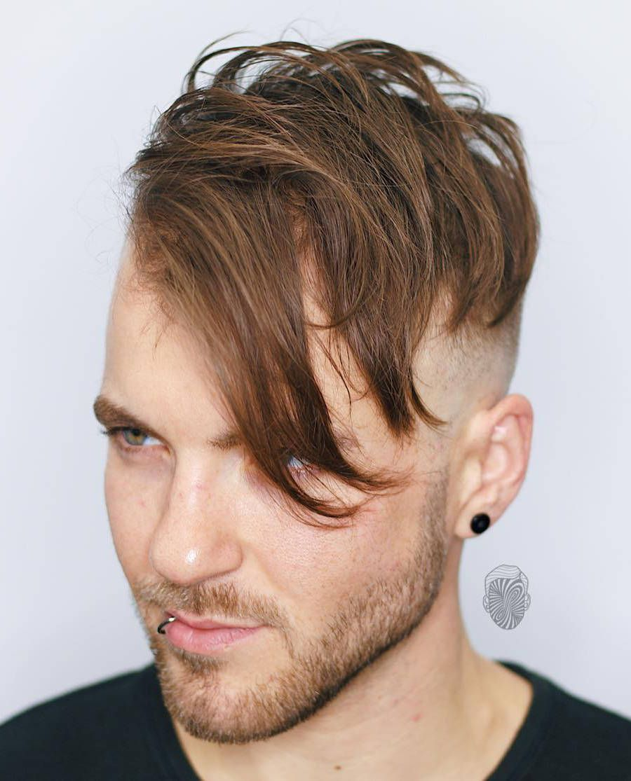 angular fade with double disconnected bald fade