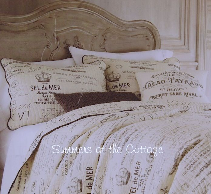 French Country Farmhouse Script Postcard Vintage Paris Cottage Bedding King Or Queen French Country Bedrooms Country Bedding Sets Vintage Bedding Set