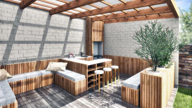 Moderne Sommerküchen : Moderne sommerküche betonwand holz Überdachung garden house