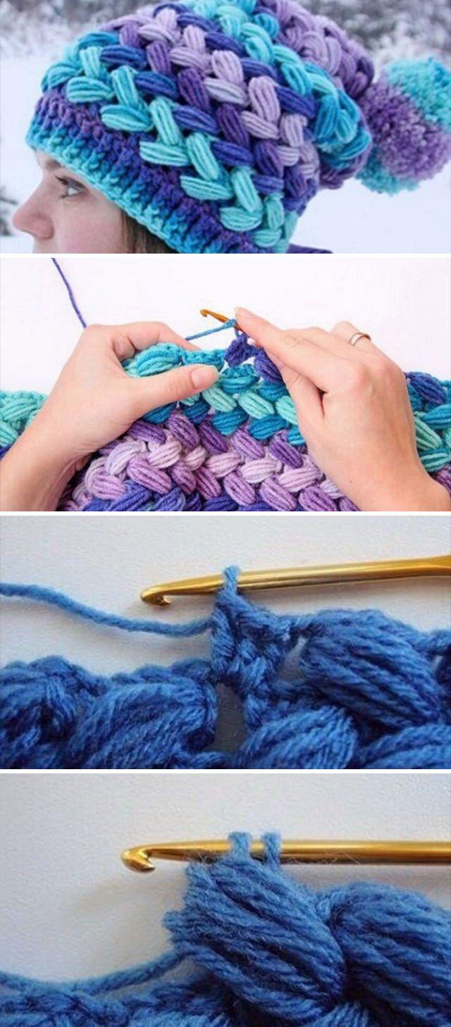 Make Lovely Braid Puff Stitch Crochet Hat #crotchetbraids