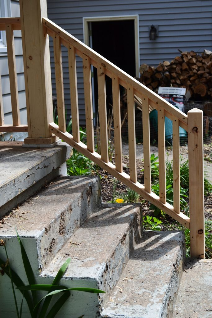 Porch Progress And The Baby Do List Newlywoodwards Railings | Front Porch Stair Railing | Single Step | Outdoor | Rail | Pressure Treated | White