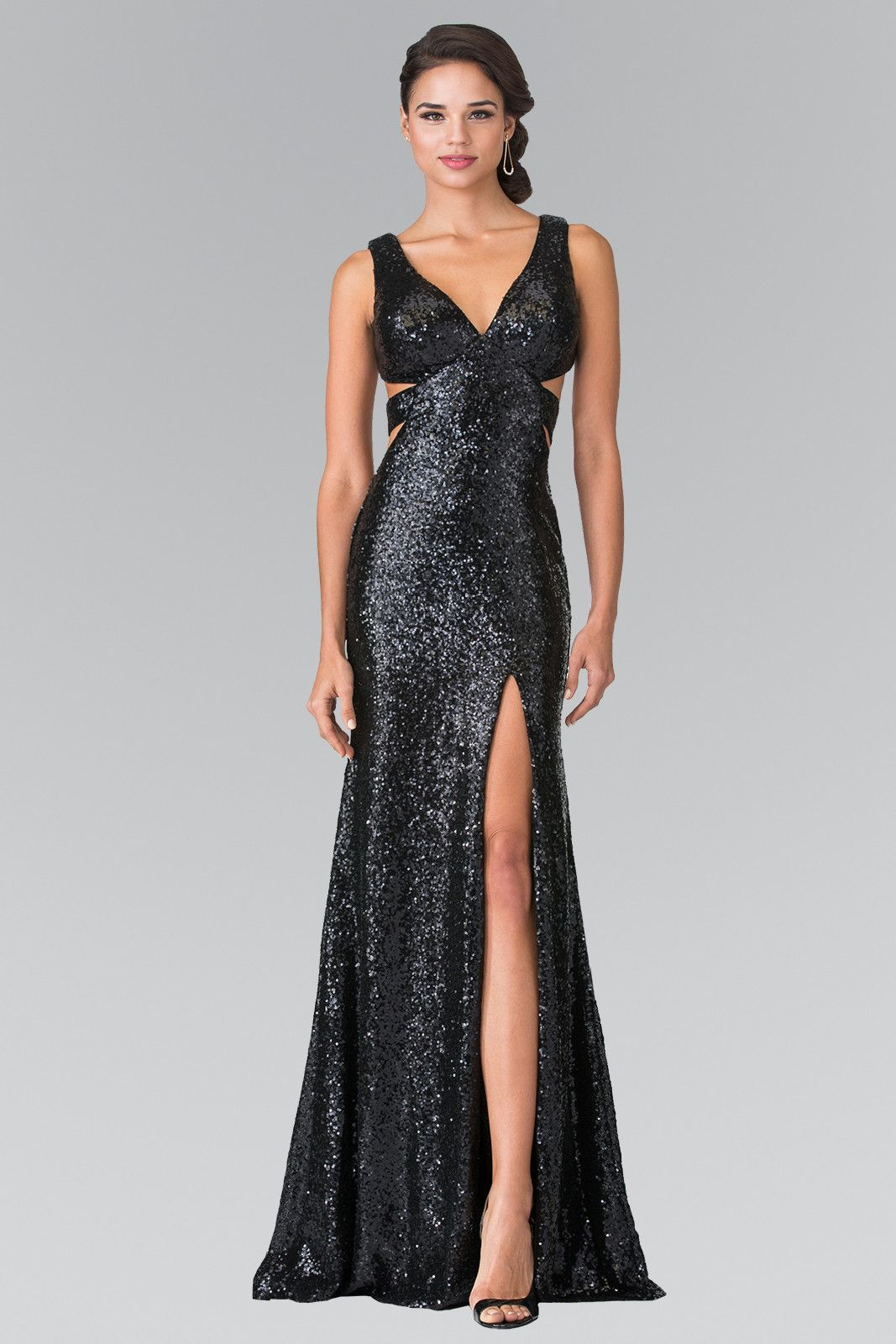 All over sequins prom dress with cut back and high slit gl