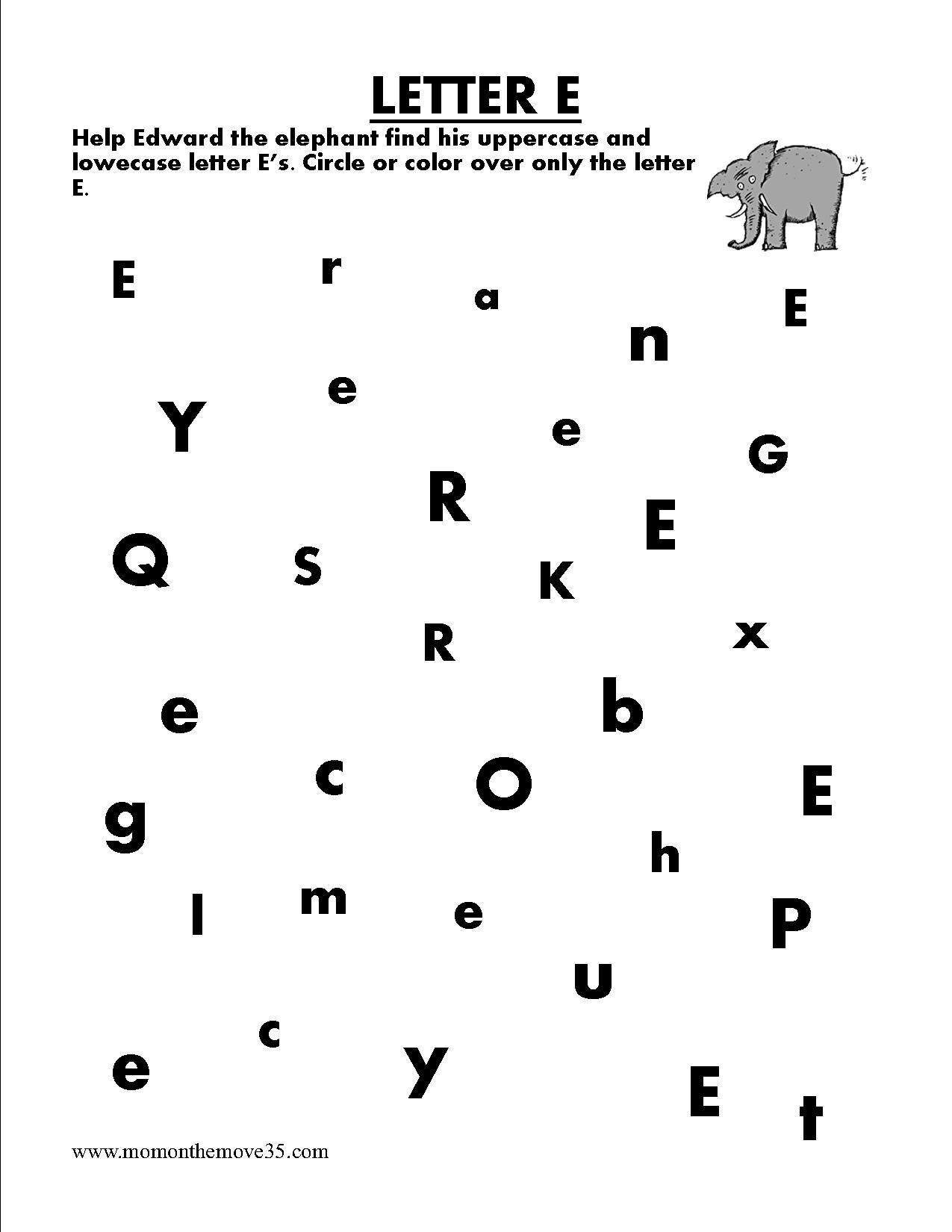 Find Letter E Worksheets