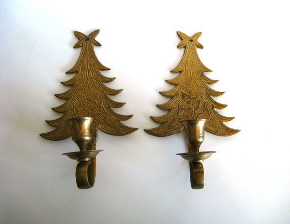 Brass christmas tree wall sconce candle holders set by pillowsophi