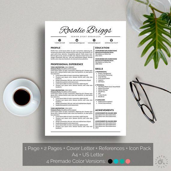 Hervatten sjabloon Instant Download creatief CV sjabloon Word - download word resume template