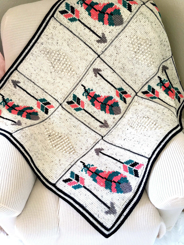 Crochet Baby Blanket, Baby Blanket, Arrows Baby Blanket, Feathers ...