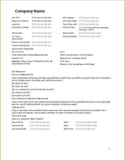 job description form sample download at http www bizworksheets com