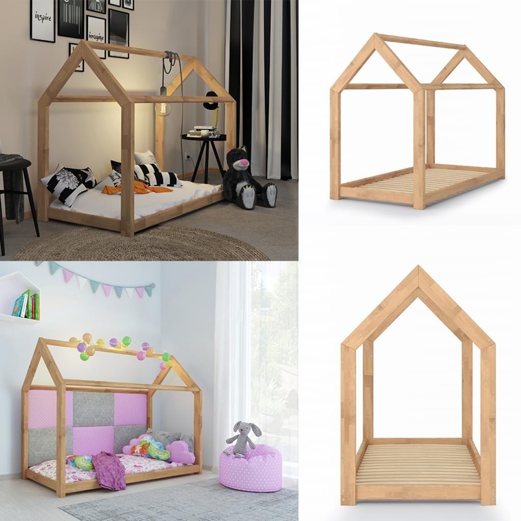 Vitalispa Kinderbett Kinderhaus Natur 80 X 160 Cm Kinder Bett Holz
