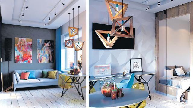 Los detalles geométricos como las sillas y lámparas, le dan un toque moderno al departamento . Foto 4 de 5