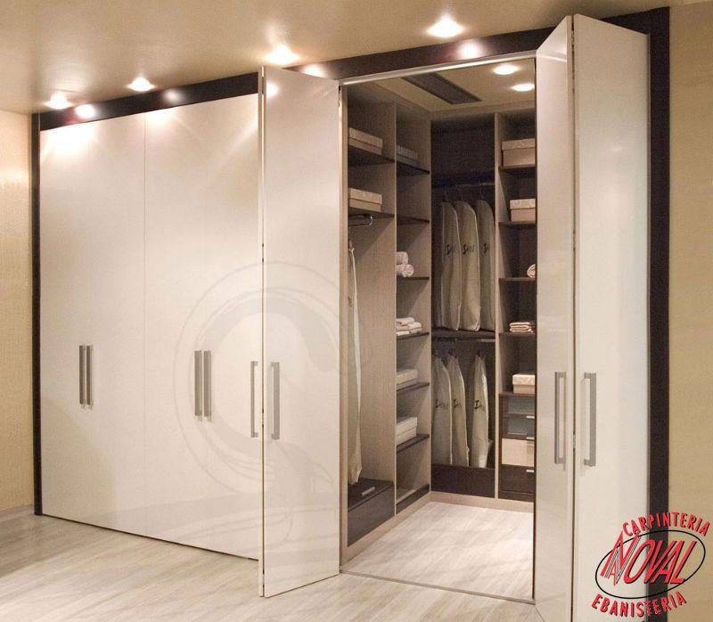 Armario bicolor frente puerta plegable lacado blanco - Armarios con puertas abatibles ...