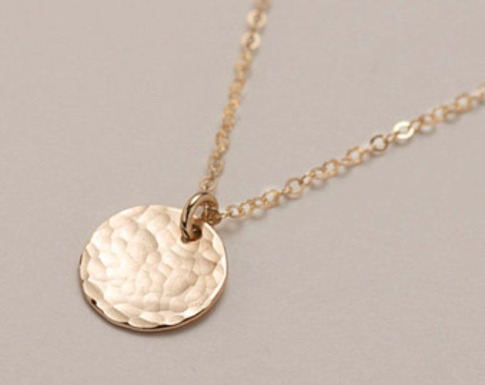 Small gold circle disk necklace hammered simple everyday necklace small gold circle disk necklace hammered simple everyday necklace small disc necklace in aloadofball Image collections